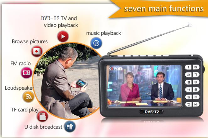 DVB-T2/DVB-T HD Digital TV Recevier 4.3inch Mini Portable TV, Support All Band FM and Mircophone