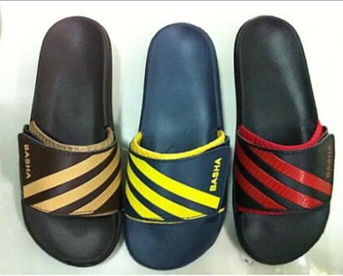 Women open toe wedge heel slippers with embossed logo