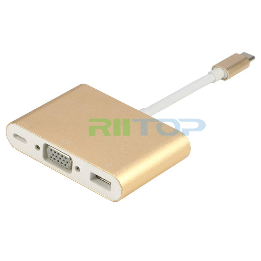 Type C USB C 3.1 to VGA & USB 3.0 & Type C Female Adapter Video Converter 1080P