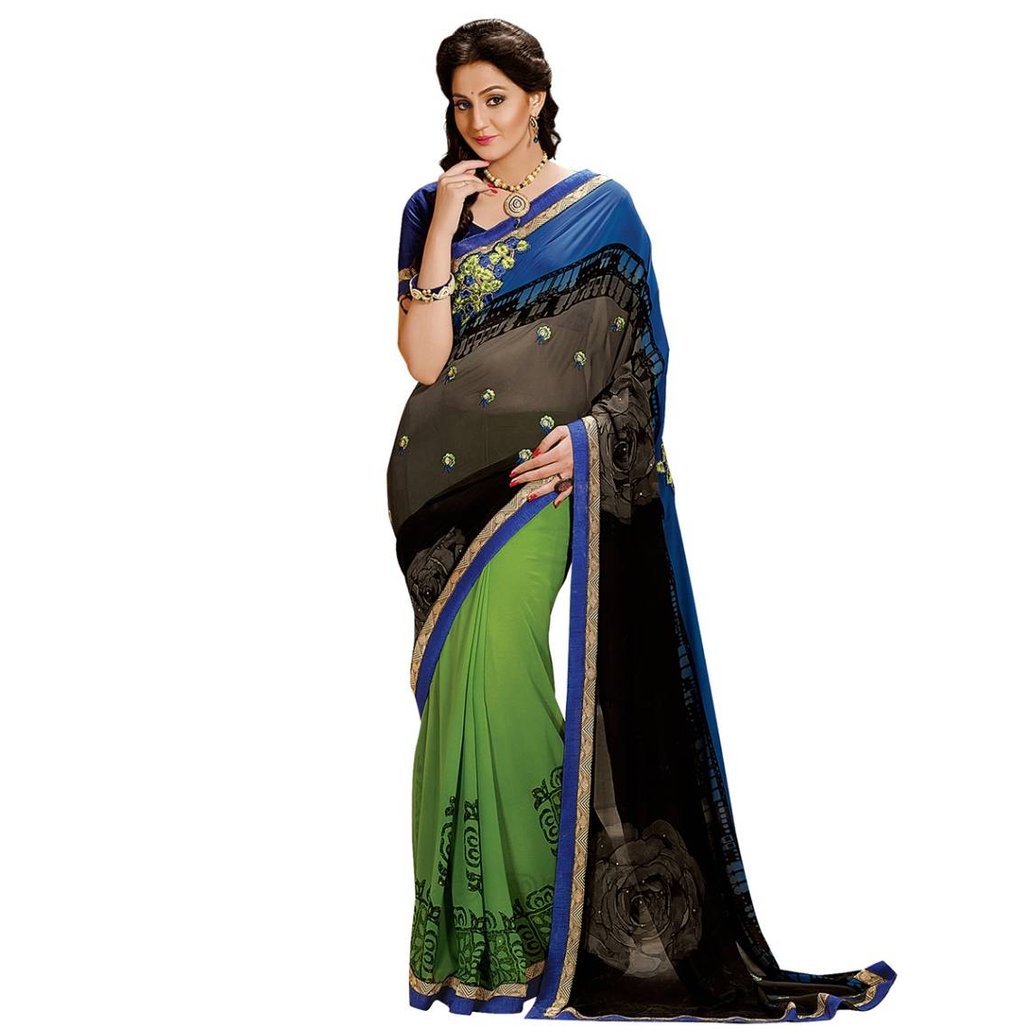 Shonaya Green,Black & Blue Colour Georgette Embroidered Sarees With Blouse PieceSGDN2-4865