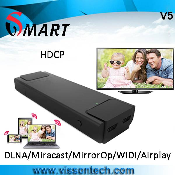V5 wifi display dongle support dlna miracast via airfun imediashare allshare cast APP to share pictu