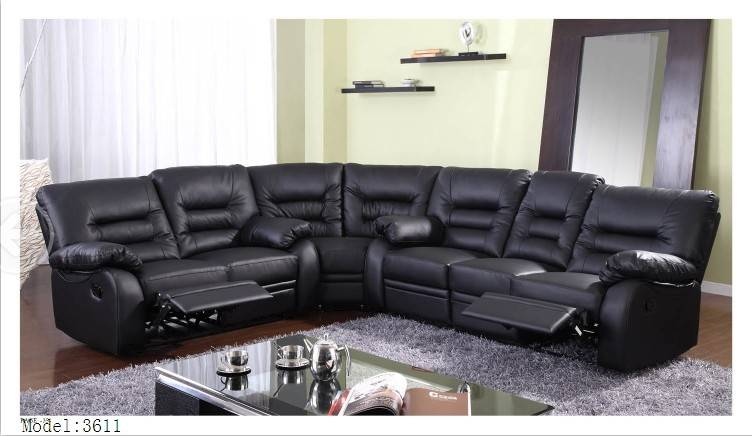 High quality black leather corner sofa with chaise sectional sofa