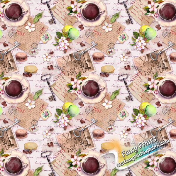 happy afternoon tea custom print for bamboo lycra knit