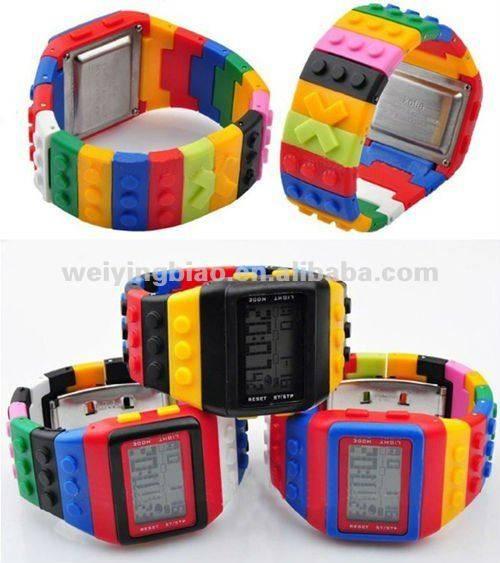 Newest trend fashionable block brick rainbow OEM Digital Watch 2013