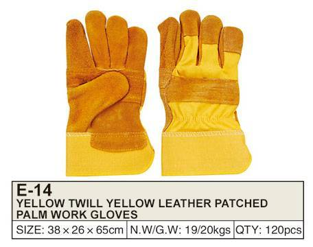 YELLOW TWILL YELLOW LEATHER PATCHED PALM WORK GLOVES