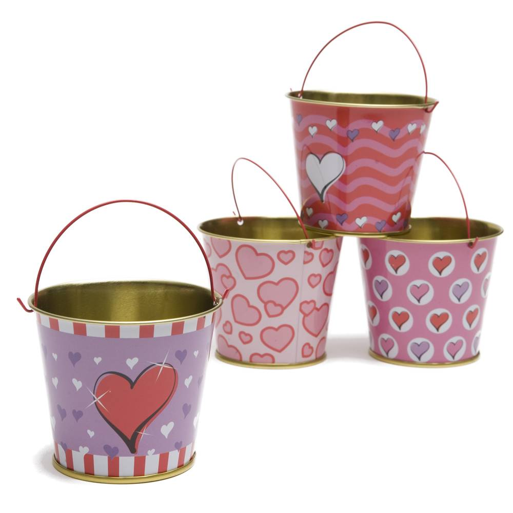 Valentine's day metal tin pail mini decorative tin bucket with handle