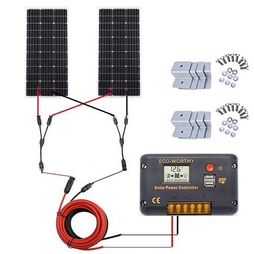 ECO-WORTHY 200 Watt (2pcs 100 Watt) Monocrystalline Solar Panel Complete Off-Grid RV Boat Kit with L