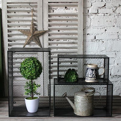 Set Of 3 Metal Black Plant Display Shelf For Garden Storage Rack Box