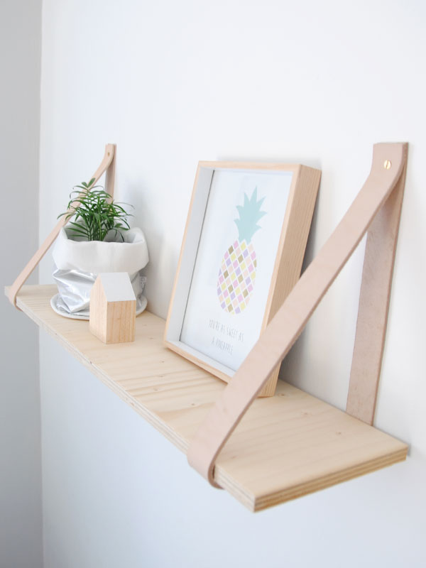 Home DIY Leather Strap Shelf