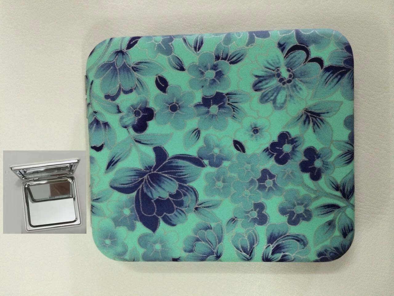 Green PU Flowers Printing Cosmetic Mirror LFM6235
