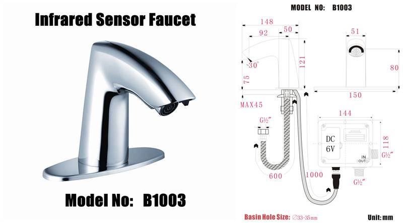 auto sensor taps faucet model :B1003