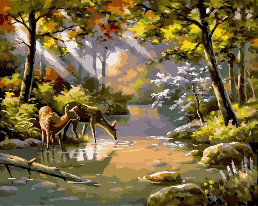 Framed or Frameless paint by numbers kits painting on canvas Landscape Forest