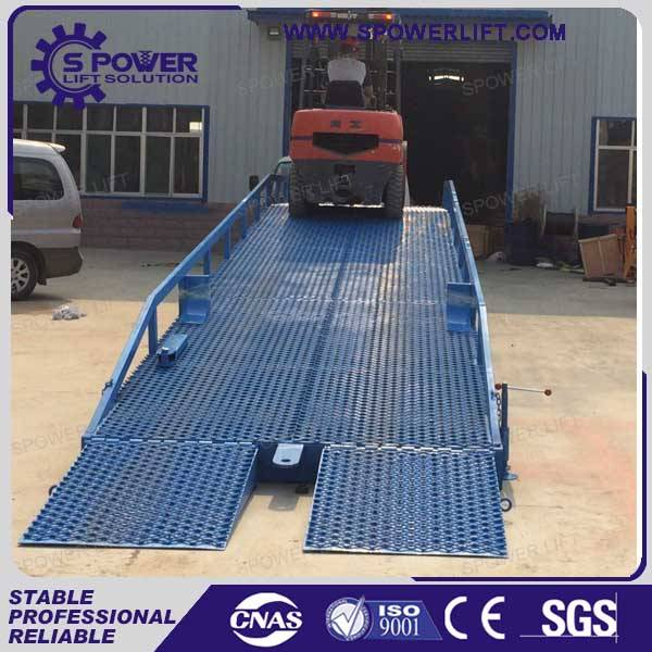 Portable adjustable container load ramp for container and forklift