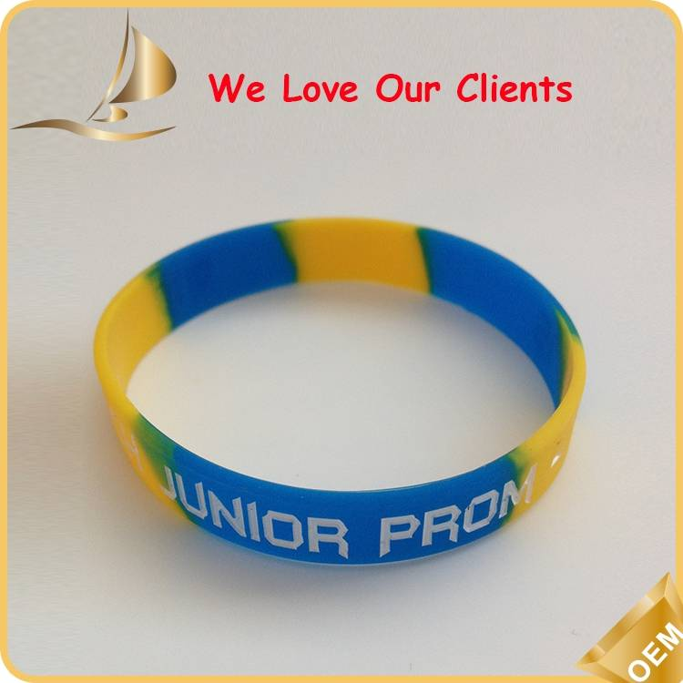 Segmented silicone wristbands in different colors