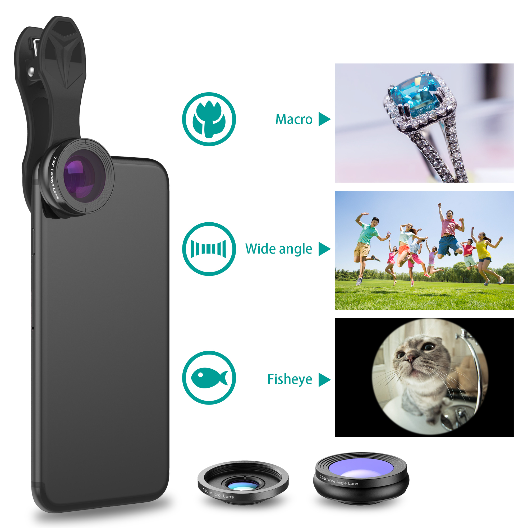Apexel hot 3 in 1 lens kit for mobile phone with wholesale price