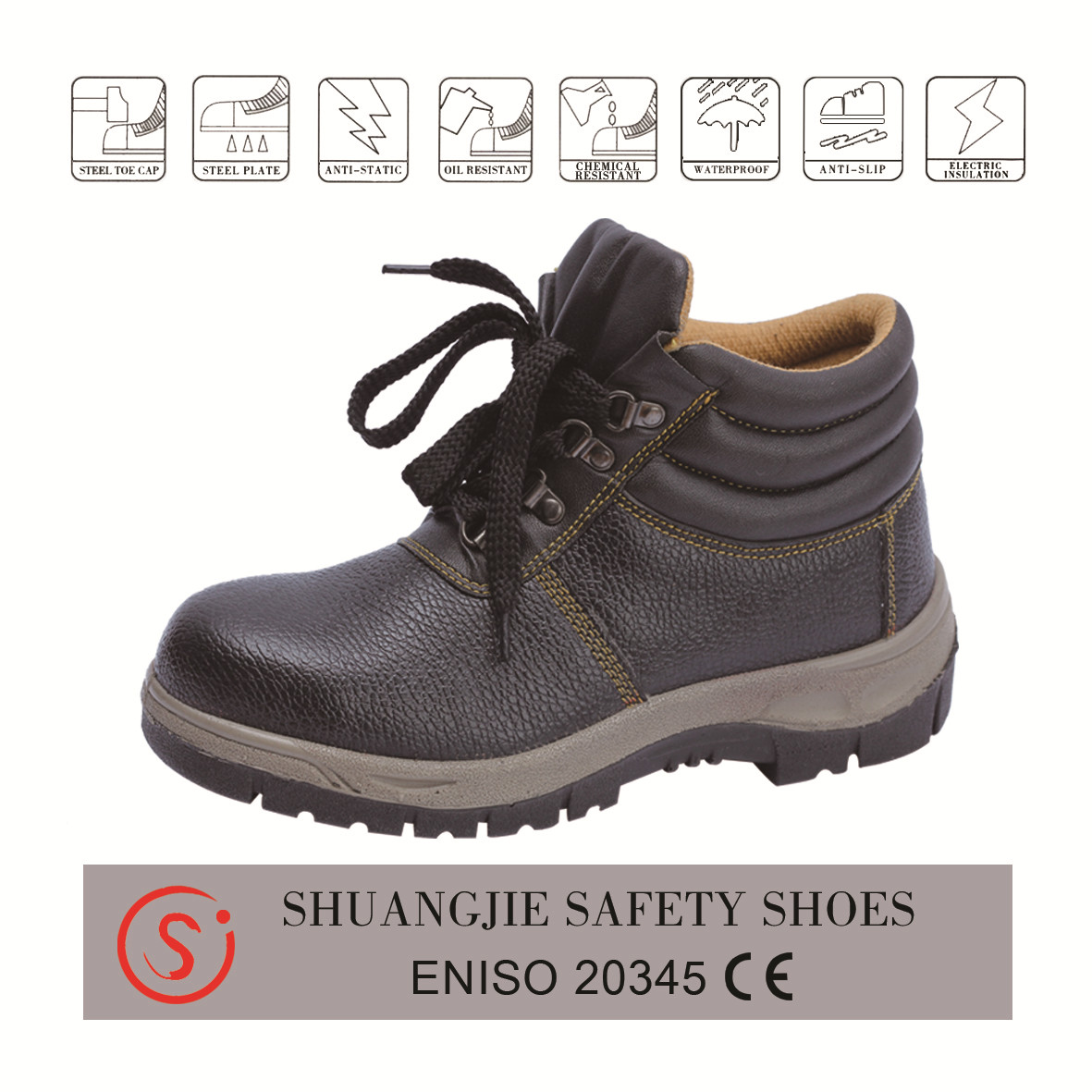 safety work boots 8044 embossed leather pu outsole