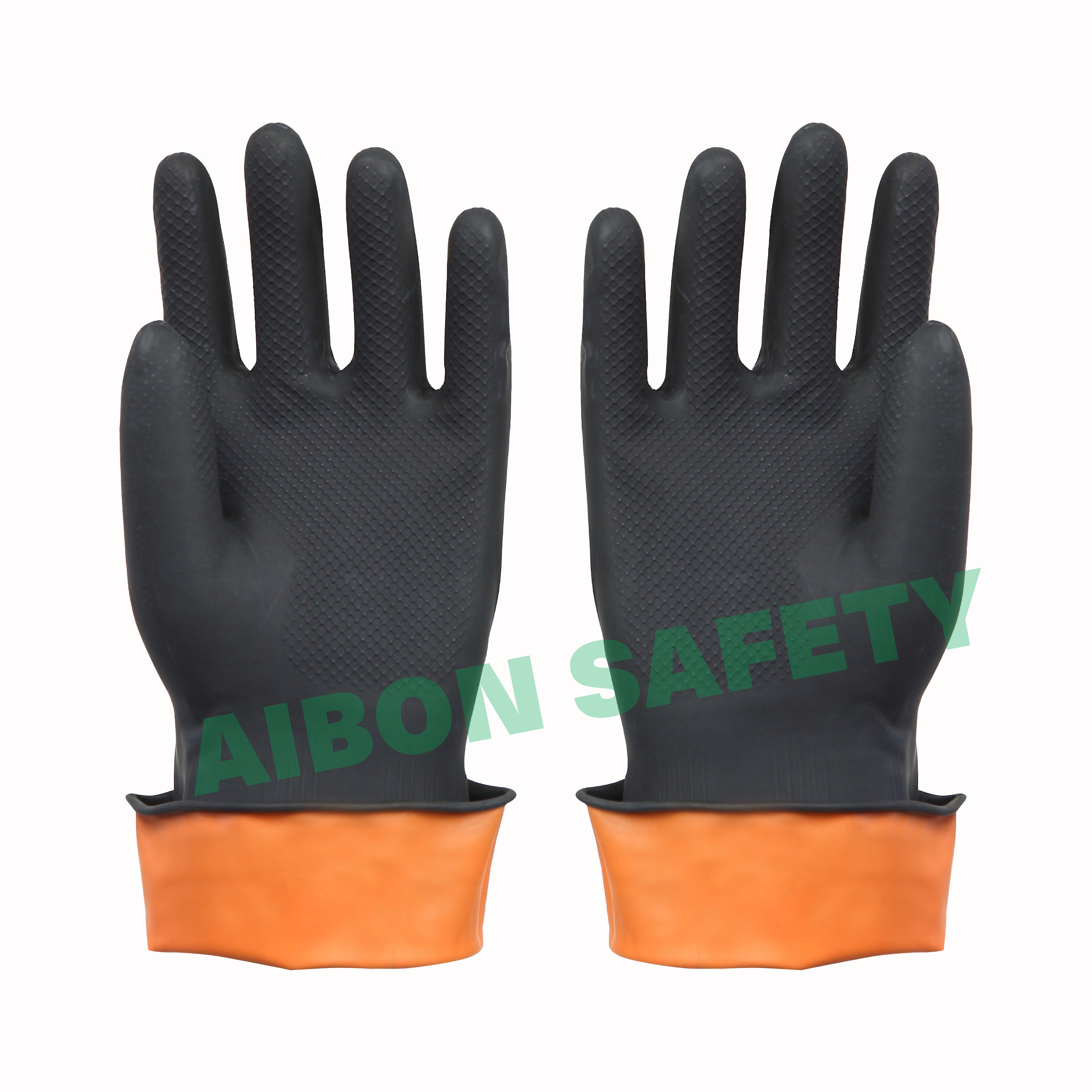 black color rubber safety hand glove