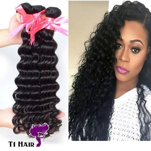 T1 Hair 3pcs Grade 7A Unprocessed Virgin Brazilian Deep Wave Human Hair Weave Natural Black #1B