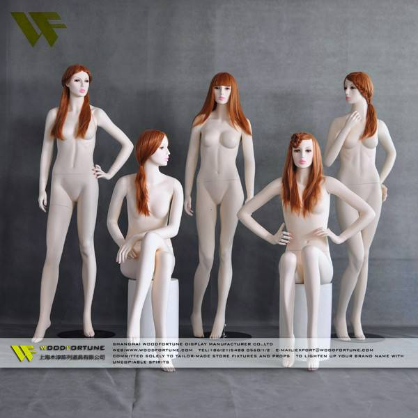 Sexy lifelike female sitting mannequin made in china