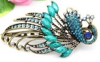 lovely vintage jewelry crystal green peacock alloy hair clips