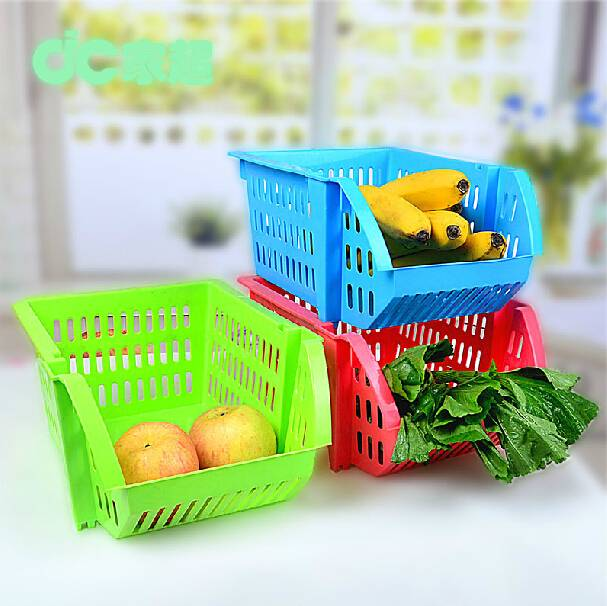 plastic stackable kitchen storage baskets