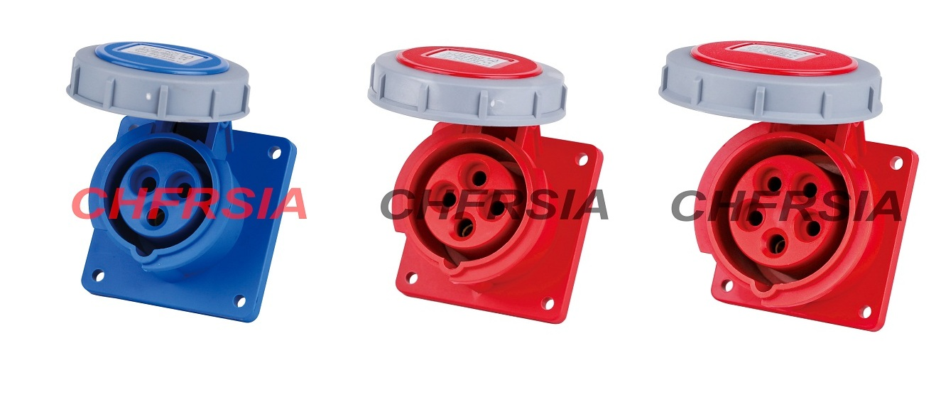 Water proof industrial socket(straight) for panel mounting 3P 4P 5P IP67