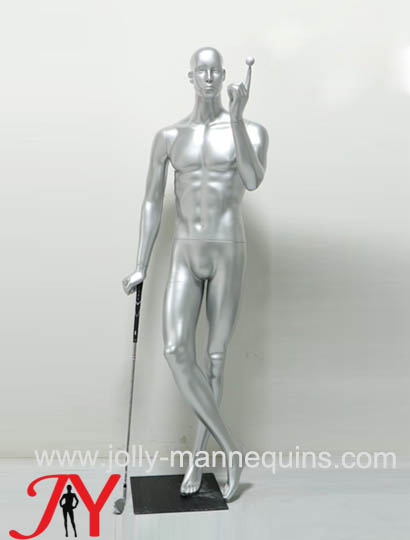 Jolly mannequins-silver color playing golf male mannequin for sport garments display JY-0051
