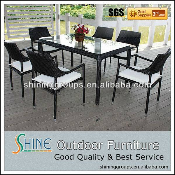 Outdoor furniture rattan/wicker dining table and chair set C675
