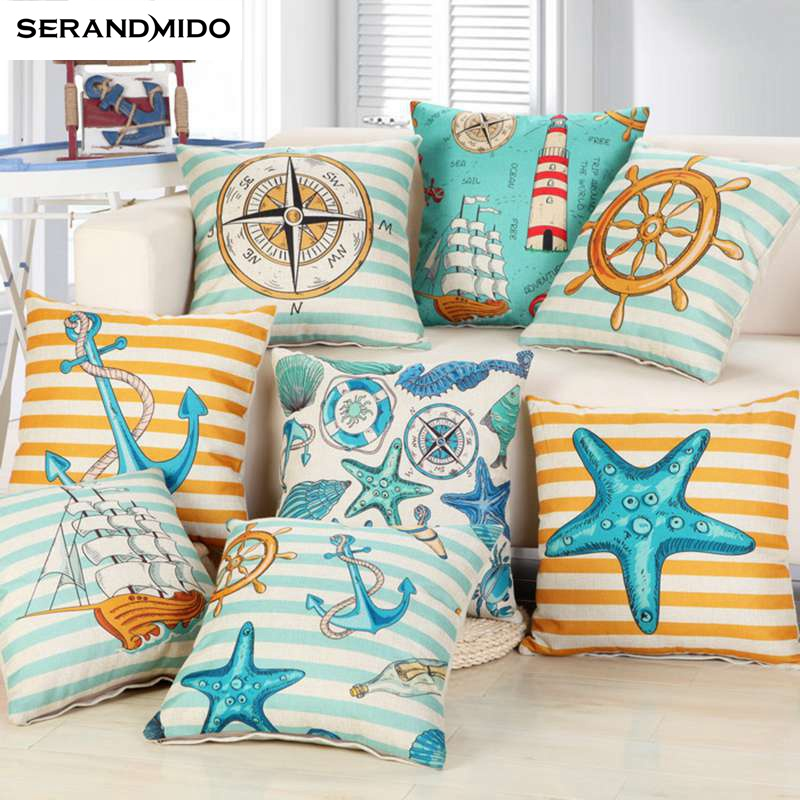 Marine style Blue Sea Helm Cushion Cover Printed Cotton Linen Pillow Case Coral Anchor Pillow Cover