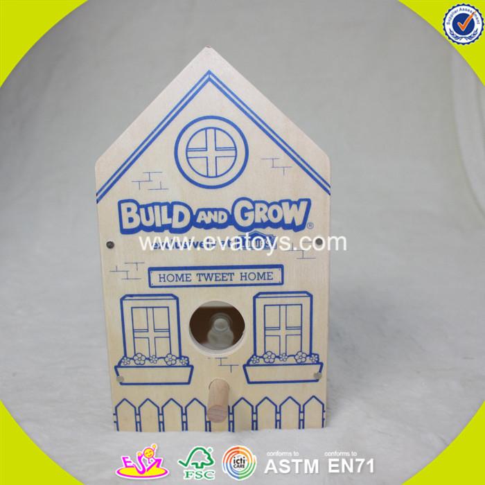 2017 new fashion funny children wooden bird house W03B049