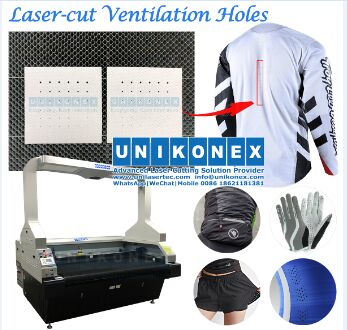 laser-cut ventilation hole in dye sublimation printed sports jersey