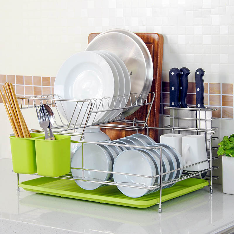 stainless steel double tier dish rack, cutlery storage rack, dish drain rack