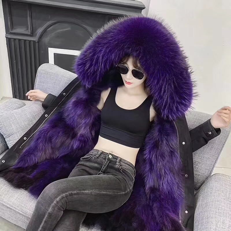 Parka for lady made by real Raccoon fur Oxford cloth B