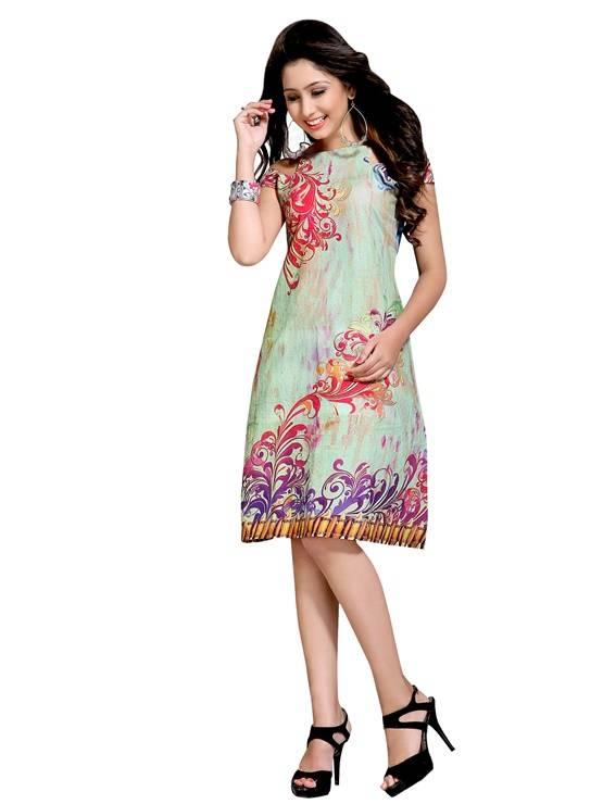 Rayon multicolour colour  Embroidered kurti  VTVIC-033
