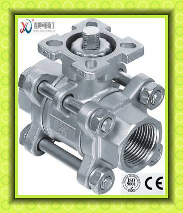 Q11F-64P 3 PC high mounting pad female bore through ball valve
