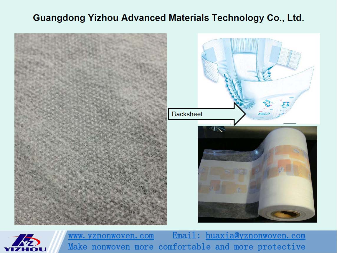 hydrophobic pp spunbond nonwoven fabric for backsheet of baby diaper, adult incontinence diaper