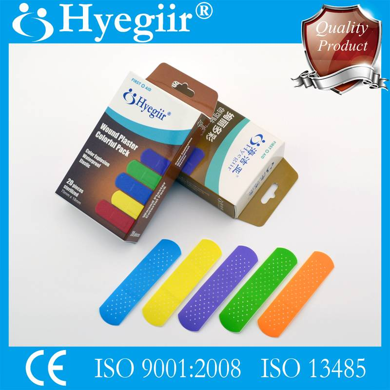 Boxed colorful pack of wound plaster
