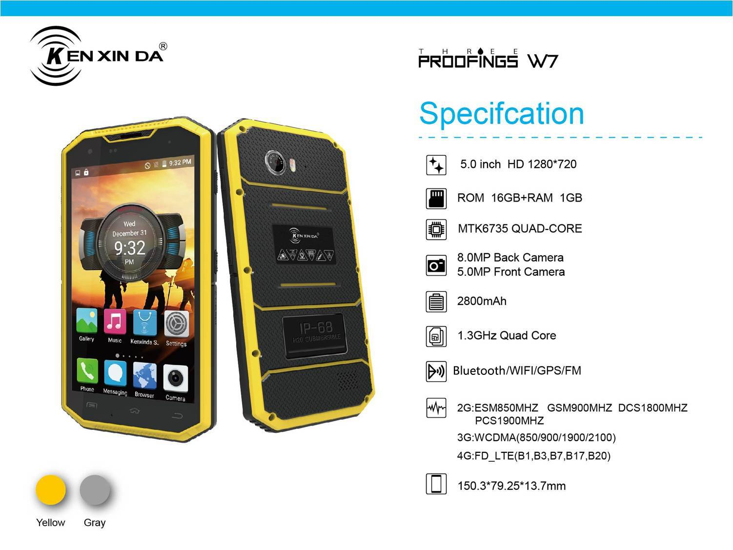 5.0''  3 proofing mobile phone