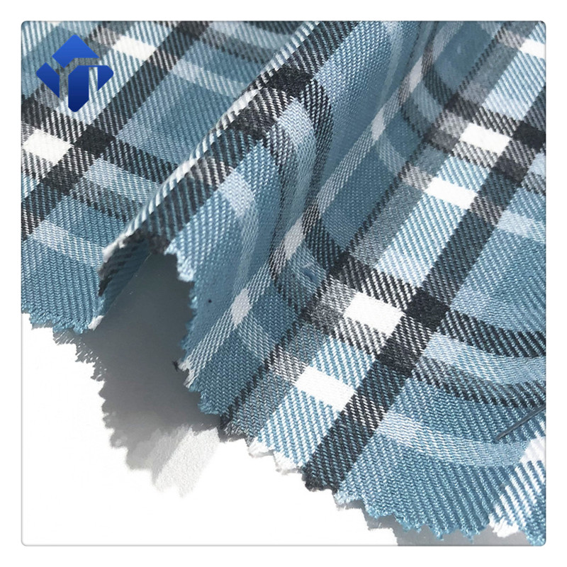 Wholesale low price 100% polyester plaid shirt fabric