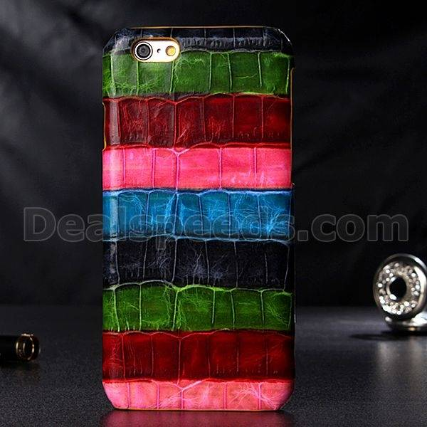 Real Crocodile Leather Colorful Strips Housing Case Shell for iPhone 6 Plus