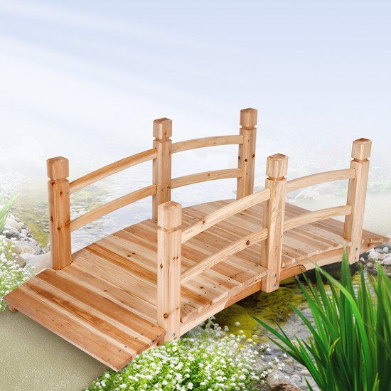 wooden garden pond decoration bridge