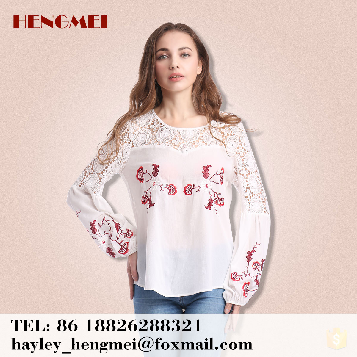 China clothing factory women ladies blouse for spring summer