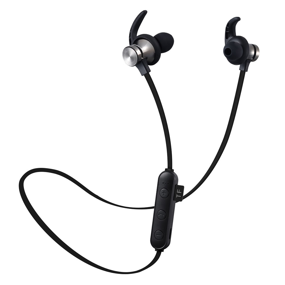 In-Ear Magnetic Bluetooth Sport Headphone with TF Card Slot Black