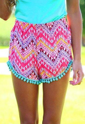 Hot Selling Fashion Women Geometry Print Shorts Beach High Quality Shorts
