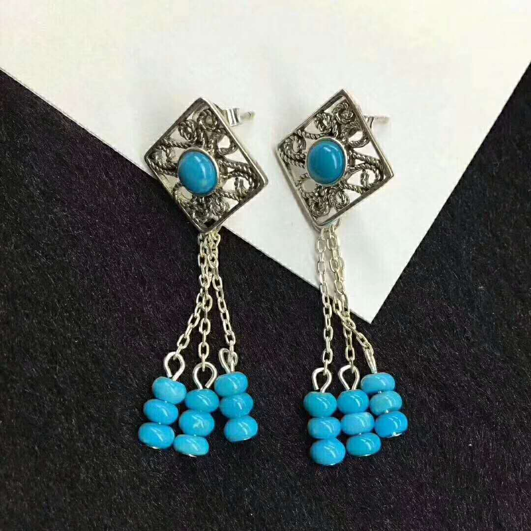 Produce boutique silver earrings with turquoise beads natural gemstone jewley