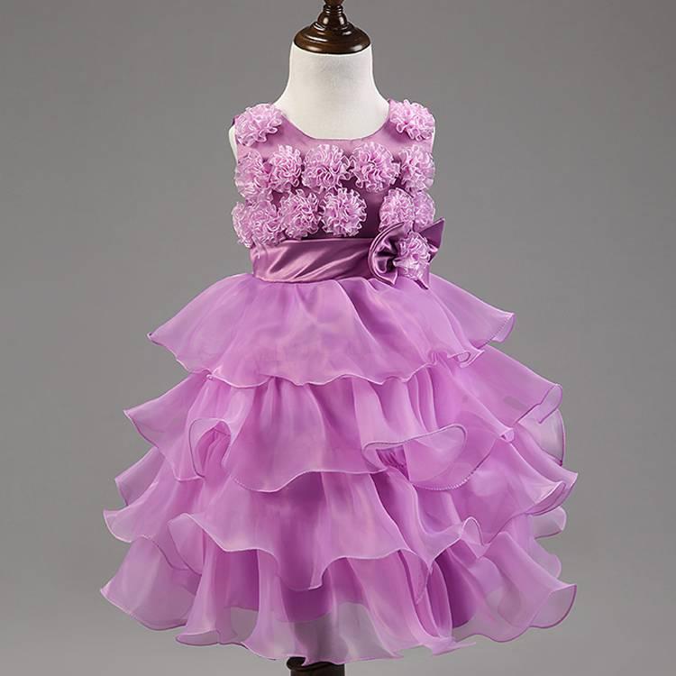 New Lovely Tulle Ruffled Handmade flowers Sleeveless Flower Girls' Dresses Girl's Pageant Dresses