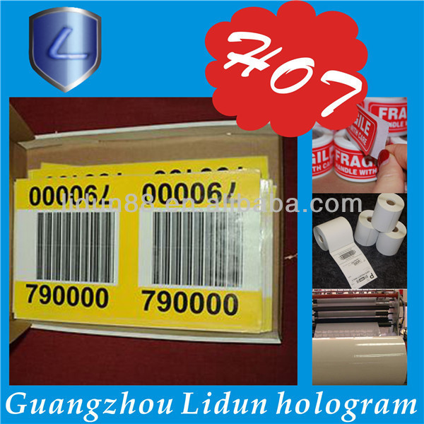 Free samples anti counterfeiting water proof thermal roll adhesive barcode label
