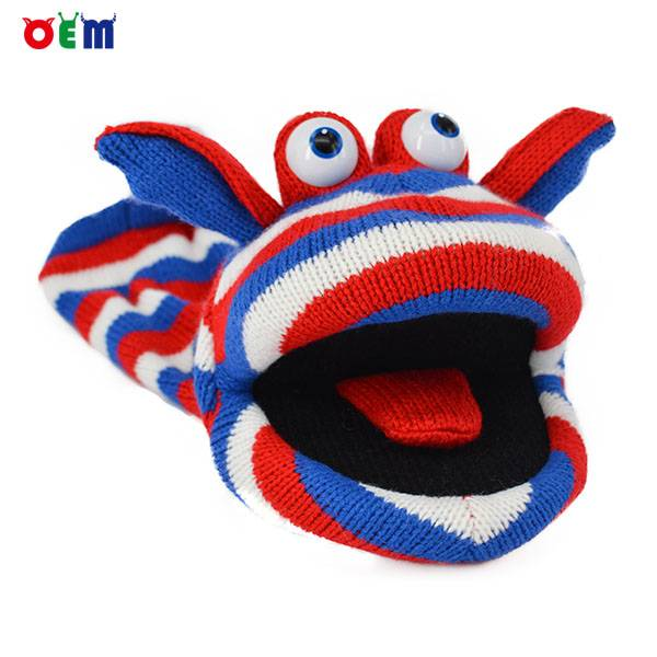 Hot Selling Knitted Hand Puppets for adult stripy finger hand puppet for sale