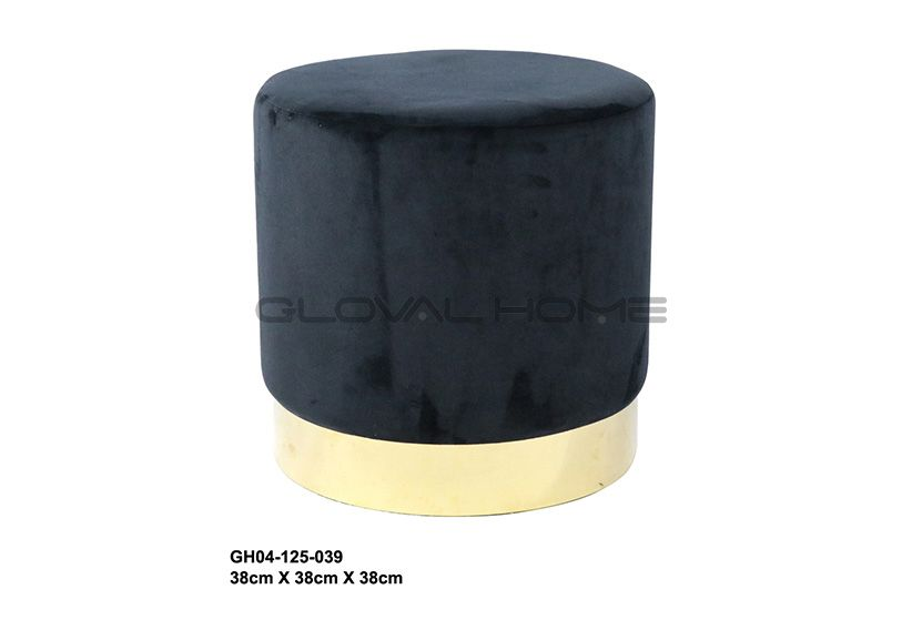 velvet fabric round ottoman stool with gold metal base