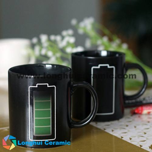 Battery design magical color changing ceramic tea cup